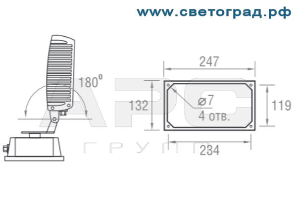 Установка прожектора ПО 211–36–001 Оптикс