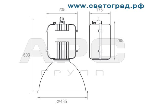 Размеры светильника-ЖСП 19-250-001