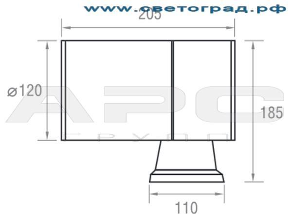 Размеры светильника 12 Вт ПБО 120–12х1–001–Оптикс