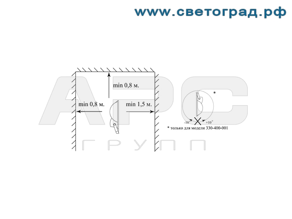 Установка прожектора ГО-330-250-002 250Вт
