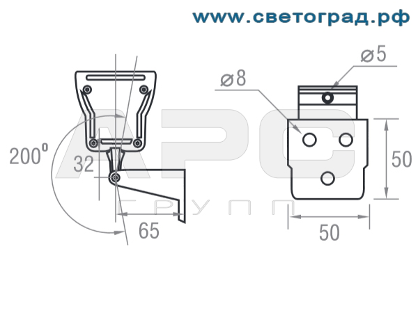 размеры Линейный светодиодный светильний ПБУ 506 Декор Оптикс