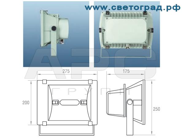 Виброустойчивый прожектор ГО 302-70-001 размеры габариты