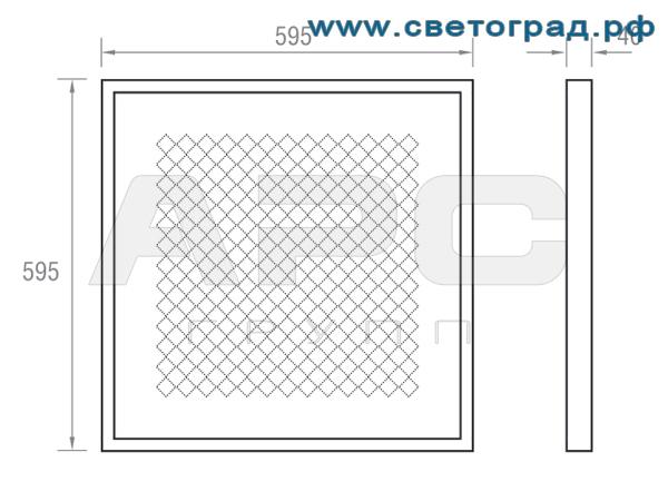 Размеры светильника Вт ПВО 600–32–001–Офис