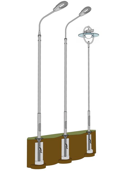Опора освещения трубчатая 3 м ОТ-3/57(3)-Ф применяется
