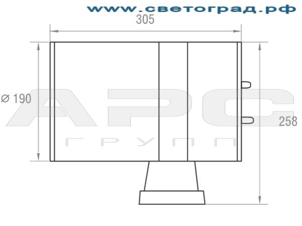 Размеры светильника 150 Вт ГБО 190–150–001