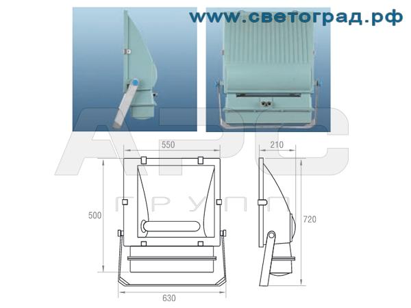 Прожектор ЖО-332-1000-001 1000Вт размеры габариты