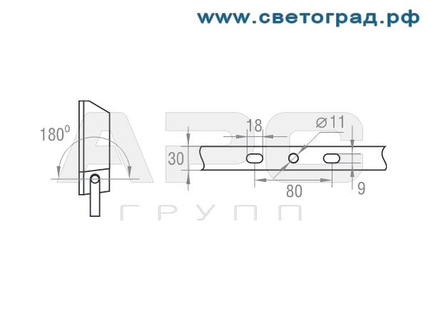 Размер крепления прожектор ГО-328-150-002 150Вт