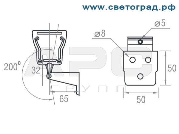 размеры Линейный светодиодный светильний ПБУ 506 Декор