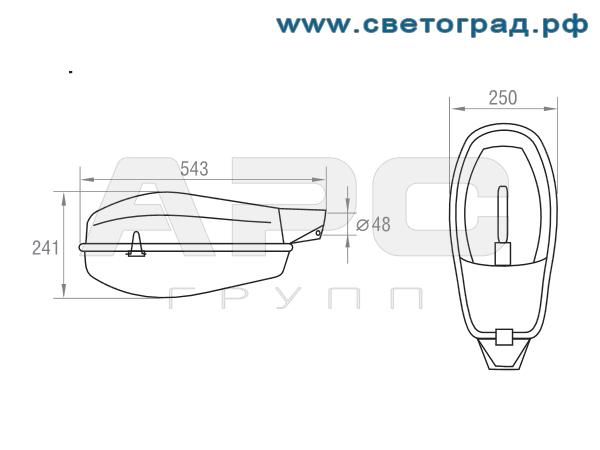 Размеры светильника-ЖКУ 37–150–001