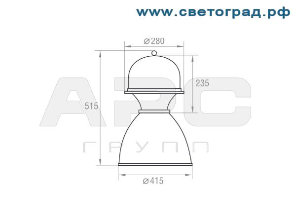 Размеры светильника-РСП 127-125-003