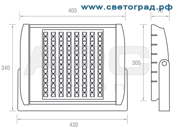 Размеры светодиодного прожектора 43x34x10 ПО 228-56х1-001-Баланс