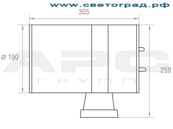 Размеры светильника 150 Вт ГБО 190–150–002