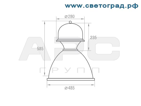 Размеры светильника-РСП 127-250-001