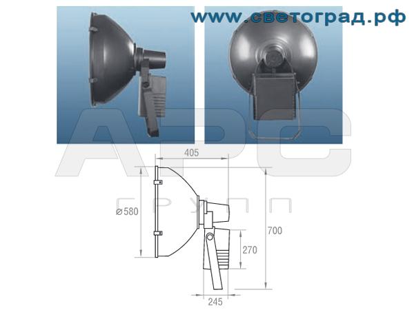 Виброустойчивый прожектор РО 28-1000-003 размеры габариты