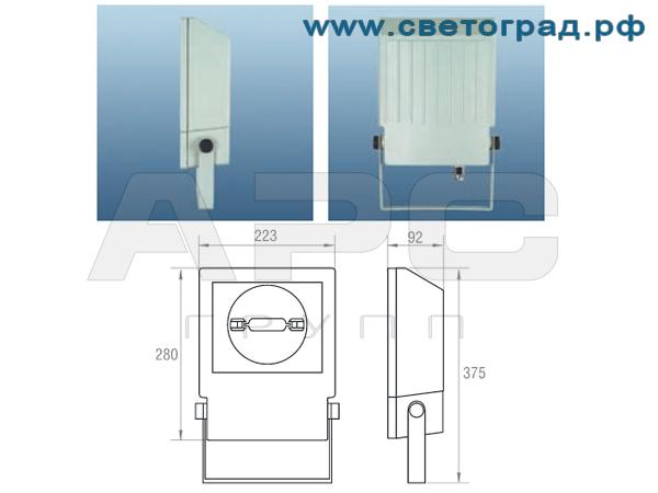 Виброустойчивый прожектор ГО 328-70-001 размеры габариты