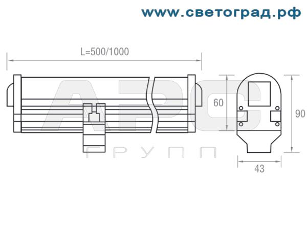 размеры способ установки светильника ПБУ 509–12–1000–Контур