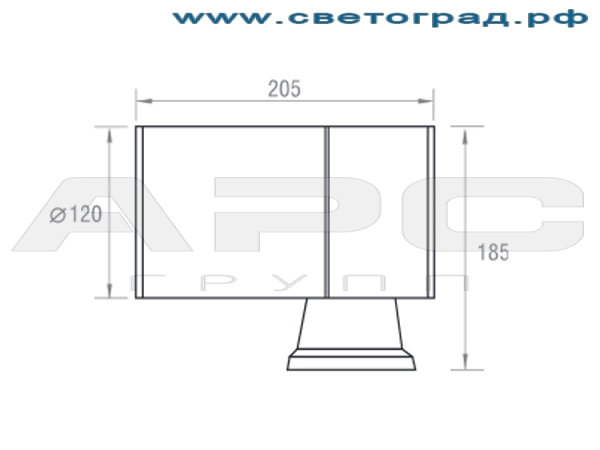 Размеры светильника ГБО 150–70–001ЭПРА
