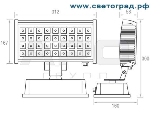 размеры прожектора ПО 211–36–001 Оптикс