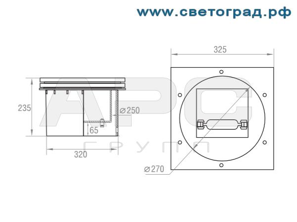 Размеры светильника ЖВУ 608–70–001