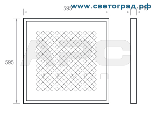 Размеры светильника 40 Вт ПВО 600–40–002–Офис