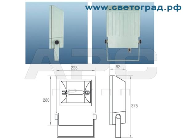 Прожектор ГО-328-70-002 с ЭПРА размеры габариты