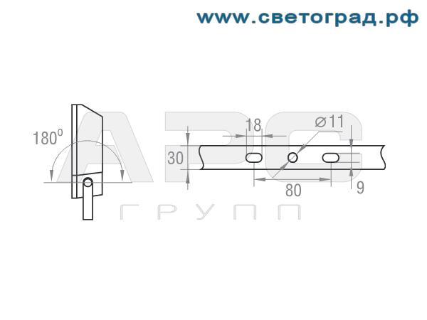 Размер крепления прожектор ГО-328-70-001 с ЭПРА 70Вт
