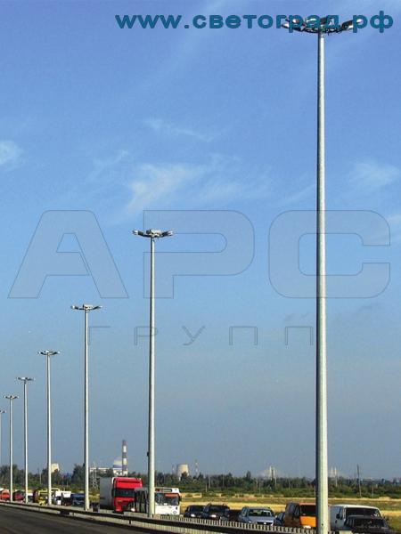 Высокомачтовая опора освещения с мобильной короной ВМО-30/10 Мачта МГФ-М, МОГ-30-МК-500