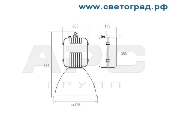 Размеры светильника-РСП 19-250-002