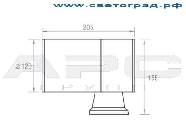 Размеры светильника ГБО 150–35–001