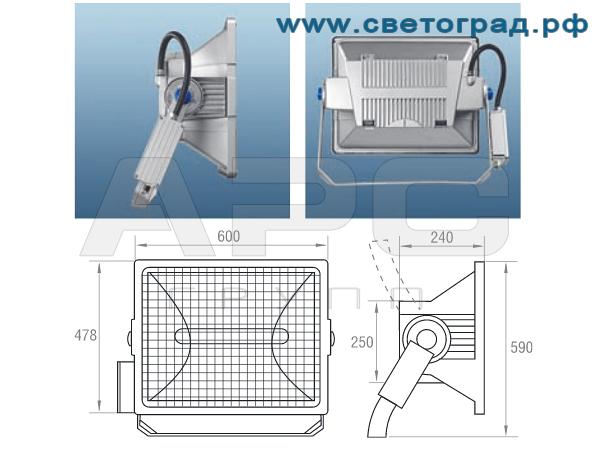 Виброустойчивый прожектор ГО 24-1000-001 с корпусом ПРА размеры габариты