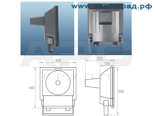 Прожектор ЖО-337-400-001 400Вт размеры габариты