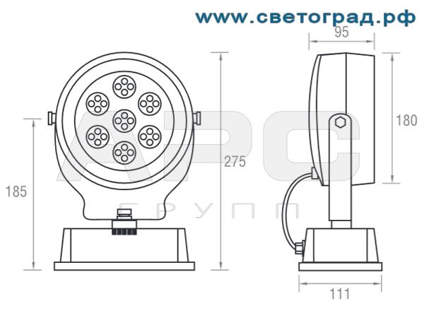 размеры прожектора ПО 212–001 Оптикс