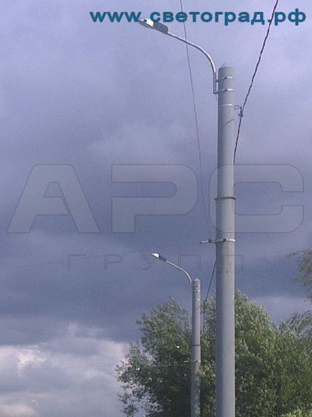 Опора силовая трубчатая фланцевая 10 м с нагрузкой 1800 кг ОТС-10-1800-Ф для контактных сетей
