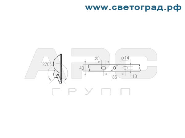 Размер крепления прожектор ГО 330-400-001