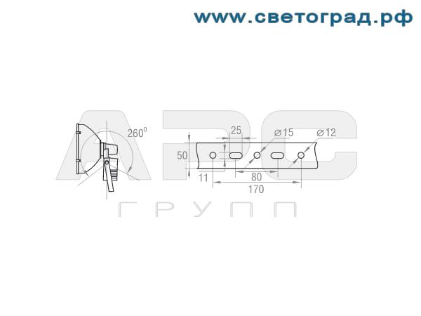 Размер крепления виброустойчивого прожектор РО 28-1000-003