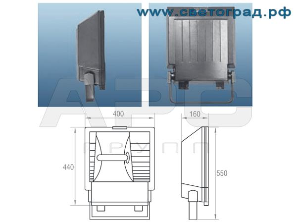 Размеры Прожектора 400Вт - ГО 337-400-003 симметричный