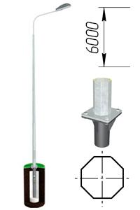 Опора восьмигранная металлическая 6 м ОГК-6 Опора несиловая фланцевая граненая НФГ-6,0-02-ц