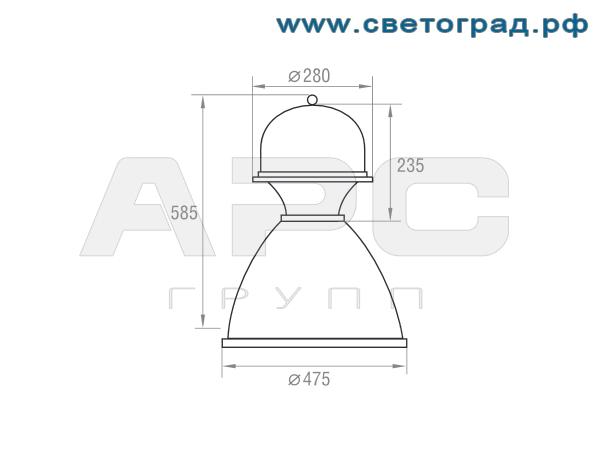 Размеры светильника-РСП 127-250-002А
