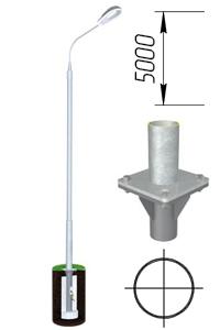 Опора круглая трубчатая оцинкованная фланцевая 5 м ОТ-5/76(3)-Ф