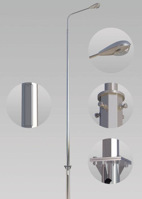 Опора освещения металлическая граненная ОГК-4/60(3)-Ф (К250-140(170)-12/4-18)
