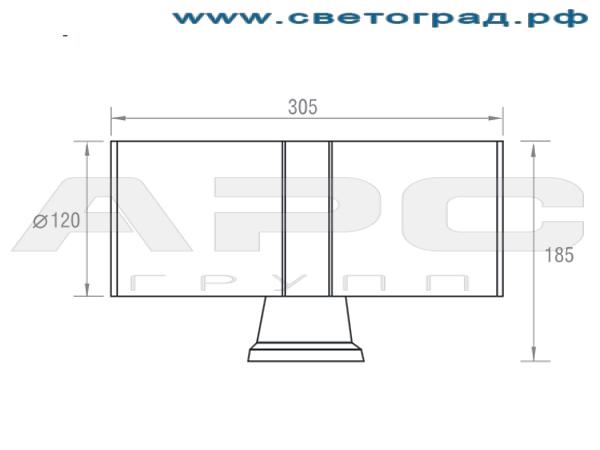 Размеры светильника ЛБО 150–003