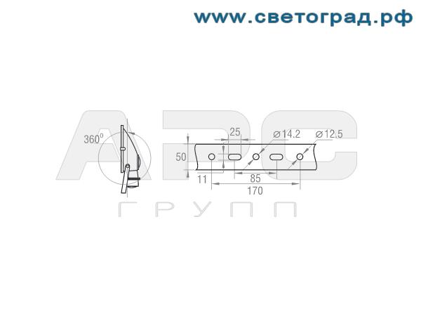 Размер крепления прожектор ГО-332-1000-001 1000Вт
