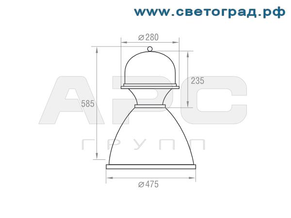 Размеры светильника-РСП 127-125-002