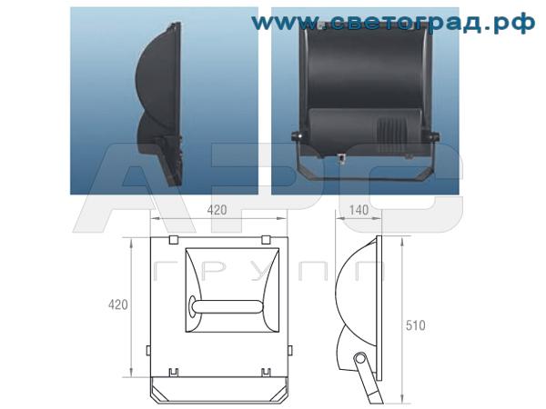 Прожектор - ГО 330-250-001 размеры
