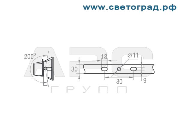 Размер крепления прожектор ГО-302-70-001 с ЭПРА 70Вт