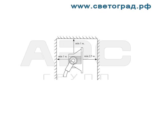 Установука виброустойчивого прожектора ГО 24-1000-001 с корпусом ПРА