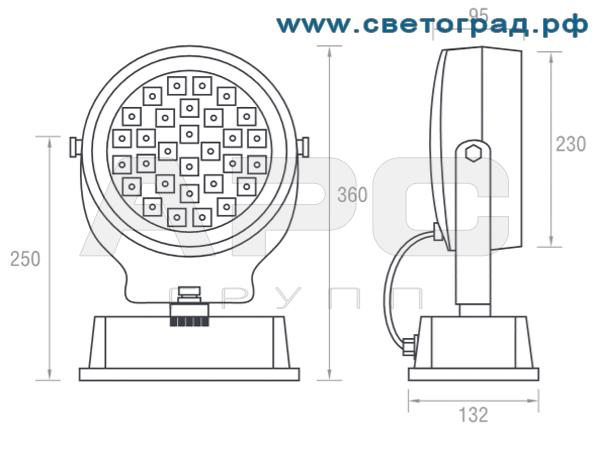 Размеры прожектора ПО 213–001 Оптикс