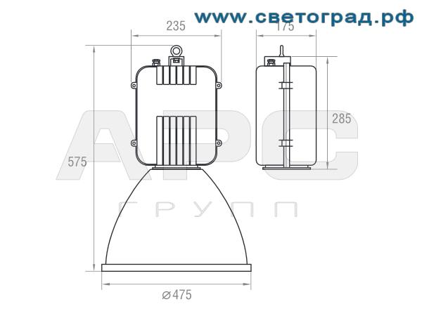 Размеры светильника-ГСП 19-400-002