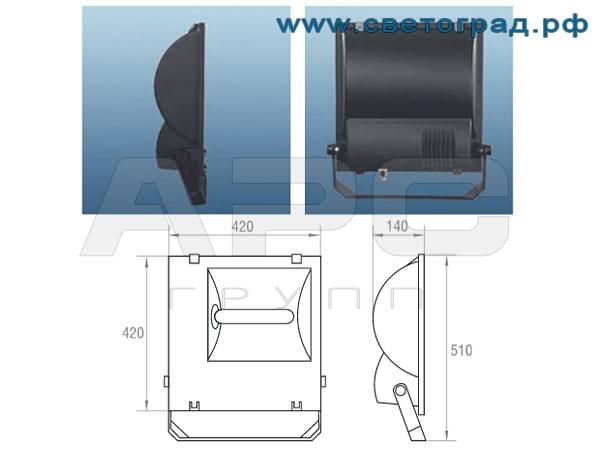 Прожектор ЖО-330-400-002 400Вт размеры габариты