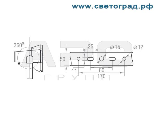 Размер крепления прожектор ГО-316-150-001 с ЭПРА 150Вт